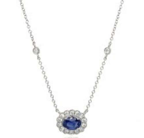 9ct white gold Sapphire & Diamond Necklace from Fine Jewellery