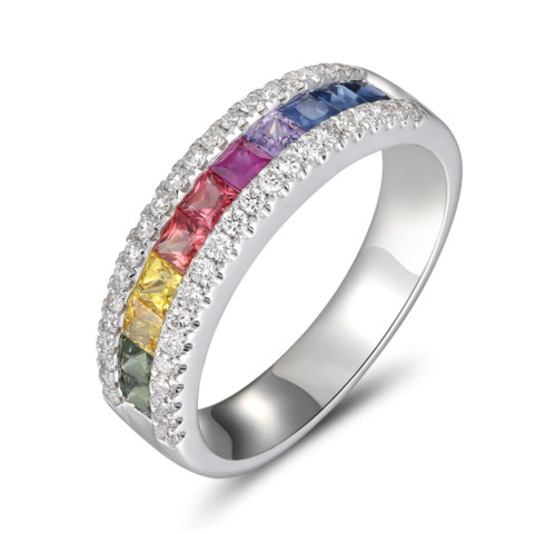 18ct white gold multi coloured Sapphire & Diamond Ring from Fine Jewellery